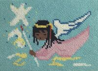 Finished Cross Stitch Picture Angel Child Flying in Clouds Blue and Pink