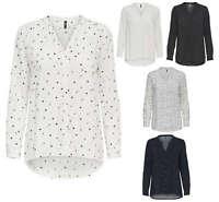 ONLY Damen Bluse Hemd Tunika onlFIRST LS POCKET SHIRT NOOS vokuhila Stern Punkte