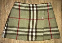 Burberry rare Girls big nova check Olive Green hue wool skirt size 10 Years