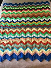 Vtg Handmade Crochet Afghan Chevron Pattern Throw Blanket Bright Colors 65 x 52