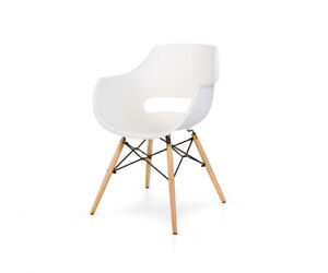 Chair Structure Wood Metal, Seat Polypropylene - 4 Pieces