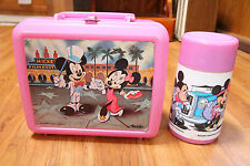 Vintage Minnie & Mickey Mouse Lunch Box & Thermos Set Aladdin Pink Film Festival