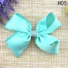 5 Inch Girl Rainbow Bows Hairpin Large Rib Grosgrain Ribbon Bow Hair Clip H05