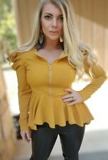 NEW YELLOW MUSTARD LONG PUFF SLEEVE PEPLUM TOP SIZE S, M, L
