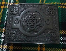 New Men's Celtic Belt Buckle Black Chrome/Scottish Kilt Belt Buckles Celtic Knot
