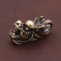 Chinese collection archaize pure brass dragon head key ring
