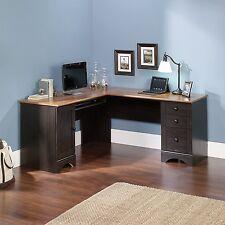 Corner L Shape Computer Office Table Desk With Cabinet Vintage Antique Look Bush