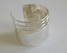 Wide Hand-Hammered Sterling Silver Plated over Bronze Polished Cuff Bracelet