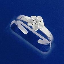 Genuine 925 Sterling Silver Cute White Hawaiian Frangipani Flower Toe Ring Pinky