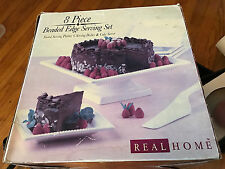 NEW REAL HOME 8 PIECE BEADED EDGE SERVING SET PLATTER,CAKE SERVER,SERVING DISHES