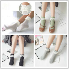 1 pair Retro Style Cotton Lace Ruffle Frilly Ankle Short Socks for Princess Girl