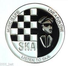 Music Is Life Listen To SKA 2 Tone Reggae MOD Metal Scooter Rider Enamel Badge
