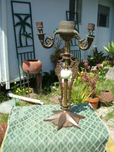 VINTAGE ART DECO MILO 1928 IRON STAR BASE & BRASS TABLE LAMP