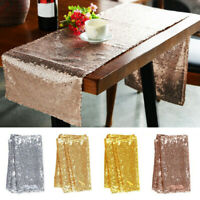 "12"" x 72"" Party Table Flag Sequins Rectangle Table Runner Tablecloth Birthday"