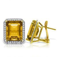 Genuine Citrines Emerald Cut Gems & Diamonds French Clip Earrings 14K Solid Gold