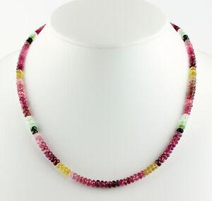Classy Tourmaline Necklace Precious Stone Facetted Colourful Women's 48 CM