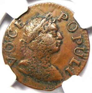 1760 Hibernia Voce Populi Farthing 1/4P Coin - Certified NGC AU53 - $2,500 Value