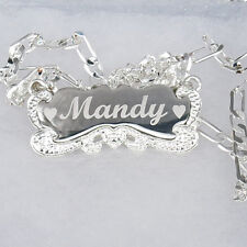 Personalized Silver Engraved Any Name Plate Necklace Brush Script * US SELLER