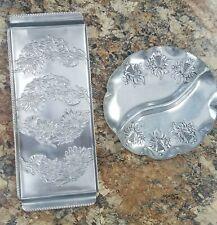 2 Vtg. Farber & Shlevin Trays Floral Round & Rectangle