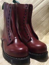 Solovair Dr. Martens Doc England Burgundy Red Leather 11 Eye Boots UK 4 US 6