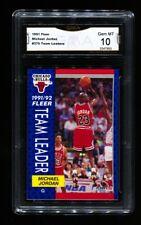 1991-92 FLEER MICHAEL JORDAN #375 TEAM LEADERS BULLS GMA 10 GEM MINT SHARP! J2M