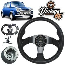 Austin Rover Mini 78> Leather Black Alloy Motorsport Steering Wheel  Boss Kit