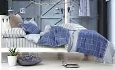 KING Quilt Cover Set 100% COTTON  High Quality Reversible Check Stripe Blue Grey