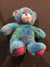 "Build A Bear Blue Peace Bear Soft Plush Toy 14"" Stuffed Animal"