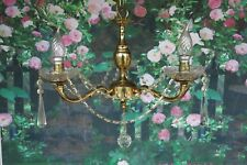 A ~STUNNING SET OF 3~ Brass & Crystal Chandeliers