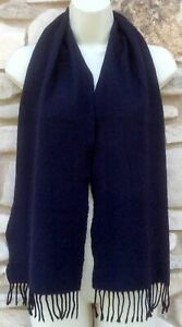 Wool Cashmere Blend Scarf Men's Navy Blue Fringed Made in Italy