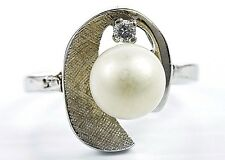 7.0 mm VTG 1940's Natural Pearl & Diamond G/VS2 GIA Spec Cocktail Ring 14k Gold
