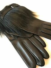 Kenneth Cole New York Ladies Faux Fur Black Leather Gloves 2BF8947 Large NWT