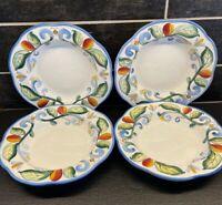 "Fitz & Floyd Ricamo Lot Of 4 Pasta  Soup Salad Bowls 10"" Leaf & Scroll"