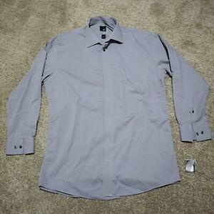 JF J Ferrar Short Sleeve Button Front Shirt Gray Size Men's Large 16-16.5