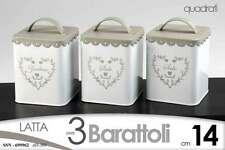 SET 3 BARATTOLI IN LATTA DECORO CUORE 14 CM QUADRATI SSN-699962