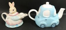 2 x Novelty Teapots - Rabbit and Blue Car - Easter -Thames Hospice