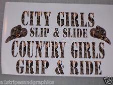 M4 CAMO City girls slip slide Country grip ride Decal Sticker Cow Girl Decals