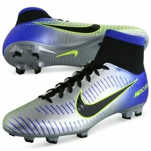 Nike Mercurial Victory VI DF FG Neymar NJR Cleats Blue/Chrome 921506 407 - 6Y