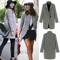 Womens Slim Lapel Wool Cashmere Coat Trench Jacket Long Parka Overcoat Outwear