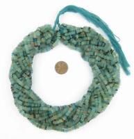 Roman Glass Saucer Heishi Beads 5mm Afghanistan Blue 16 Inch Strand