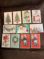 Vtg NEW GREETING CARD Christmas Santa LOT OF 11 Holiday Unused Glitter