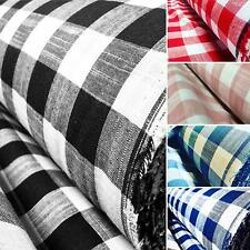 Gingham Linen Checked Cotton Fabric Plaid Material Buffalo Check 140cm wide