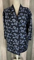 Masai Navy Floral Padded Quilted Oversized Artsy Straight Jacket Size L BNWT