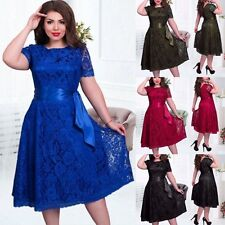 Womens Lace Floral Short Sleeve Evening Party Cocktail Ball Gown Dress Plus Size
