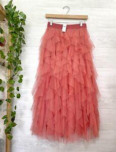 NEW ANTHROPOLOGIE Tesia Ruffled Tulle Midi Skirt Flocked Coral Pink XS