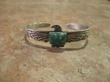 Early 1900's Navajo Sterling Silver Premium Turquoise THUNDERBIRD Cuff Bracelet