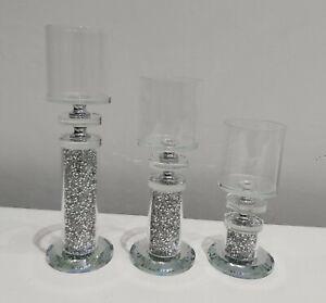 Crushed Crystal Diamond Silver 3pc Tea Light Candle Holder Set NEW Design...