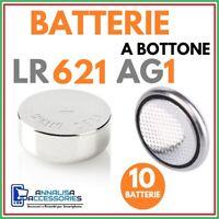 10 BATTERIE ALCALINE LR621 AG1 1.5 V VOLT PER OROLOGIO AUTO STOCK PILE A BOTTONE