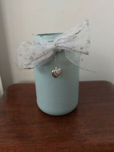 Shabby Chic  Duck Egg Blue Painted  Decorative Jar.  17cm tall. Handmade.