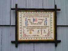 Antique Victorian Black Forest Adirondack Picture Frame USA Pledge Of Allegiance